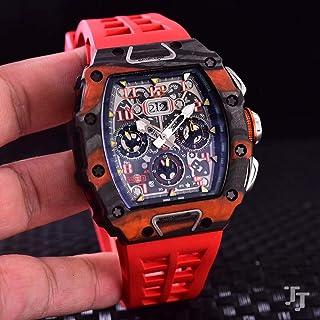 CHQSMZ - Relojes mecanicos Nuevo Negro Goma Hombres Reloj Zafiro Automático Naranja Limitada Titanio Fibra De Carbono Tpt