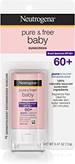 Neutrogena Pure & Free Baby Mineral Sunscreen Stick with Broad Spectrum SPF 60 & Zinc Oxide, Water-Resistant, Hypoallergenic, Oil- & PABA-Free Baby Sunscreen, 0.47 oz (Pack of 2)