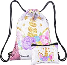 Merrycolor Unicorn Gifts Sequin Drawstring Backpack Unicorn Pouch Sets Dance Bags for Girls