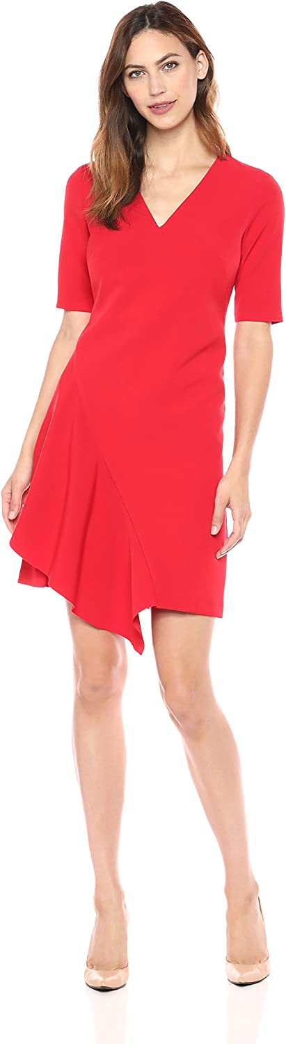 Maggy London Women's Dream Crepe Fit and Flare with Cascade Skirt and Sleeve