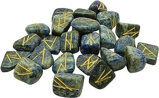 Harmonize Les Symboles De L'Alphabet Runique Spirituelles Lapis-Cadeaux Cristal Pierre Reiki Guérison Lazuli A Chuté