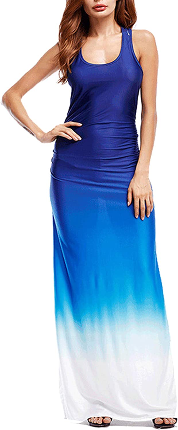 Latest item WIWIQS Womens Sleeveless Ombre Maxi Summer Dress Dye Casual Max 47% OFF Tie