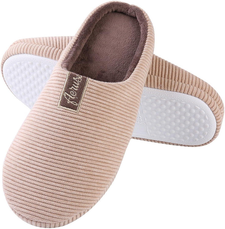 Aerusi Women's Cotton Stripe Plush Close Toe Memory Foam Indoor Slip On Clog Slipper Bedroom Indoor House Mule shoes
