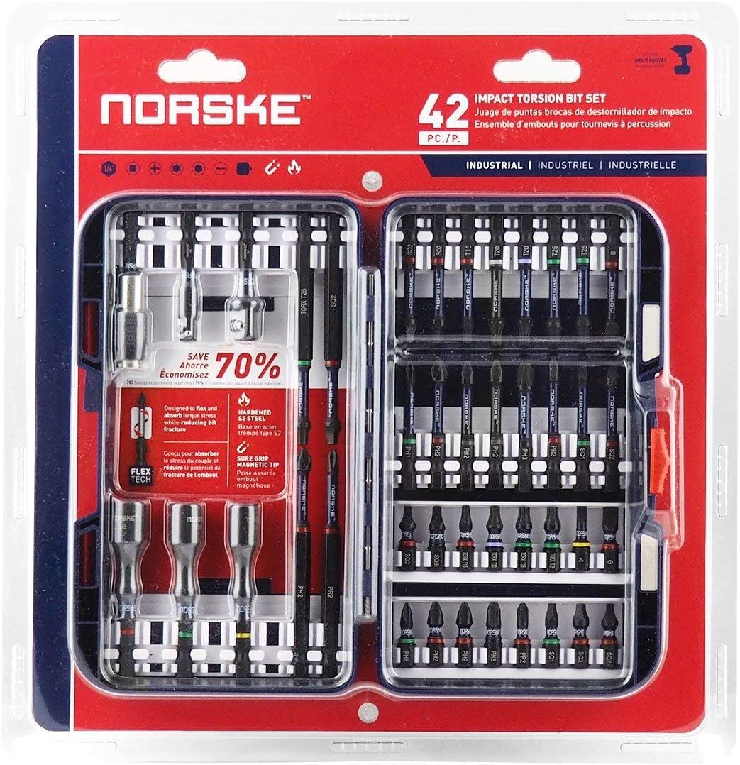 定番スタイル 国内送料無料 3 Set - Norske Tools 42pcs Impact NIBPI703 Bit Screwdriver