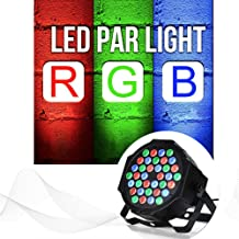 ENUOLI DJ Par Lights 36 LED RGB 7 Channels DMX 512 Control Auto Sound Activated Mode Adjustable Speed Stage Uplights with Cooling Fan Disco Projector for Home Wedding Church Concert Musical Show