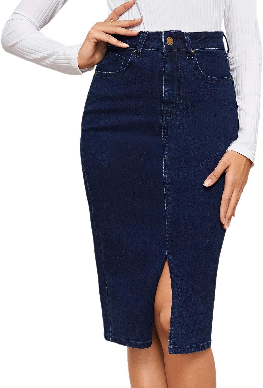 MakeMeChic Women Split Front Pocket High Waist Midi Pencil Denim Skirt Navy M