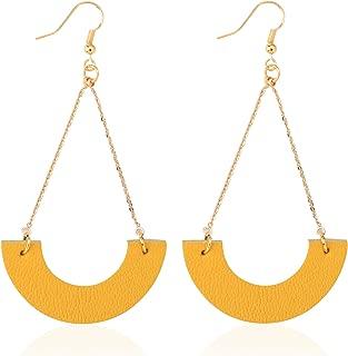 Genuine Leather Earrings Vintage Dangle Drop for Women Girls