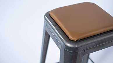 "Square Stool Cushion for Industrial/Modern/Farmhouse and Other Metal Stools - Made in USA, Camel, 9-3/4"" x 9-3/4"""