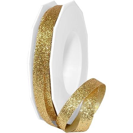 "Morex Ribbon 98502/25-634 Metallic Princess Glitter, 3/8"" x 25 yd, Gold"