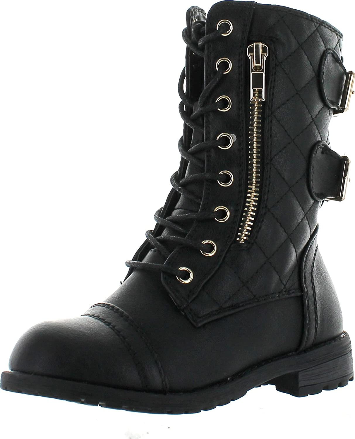 Toddler//Little Kid//Big Kid Ausom Boys Girls Combat Lace Up Side Zipper Mid Calf Boots Shoes