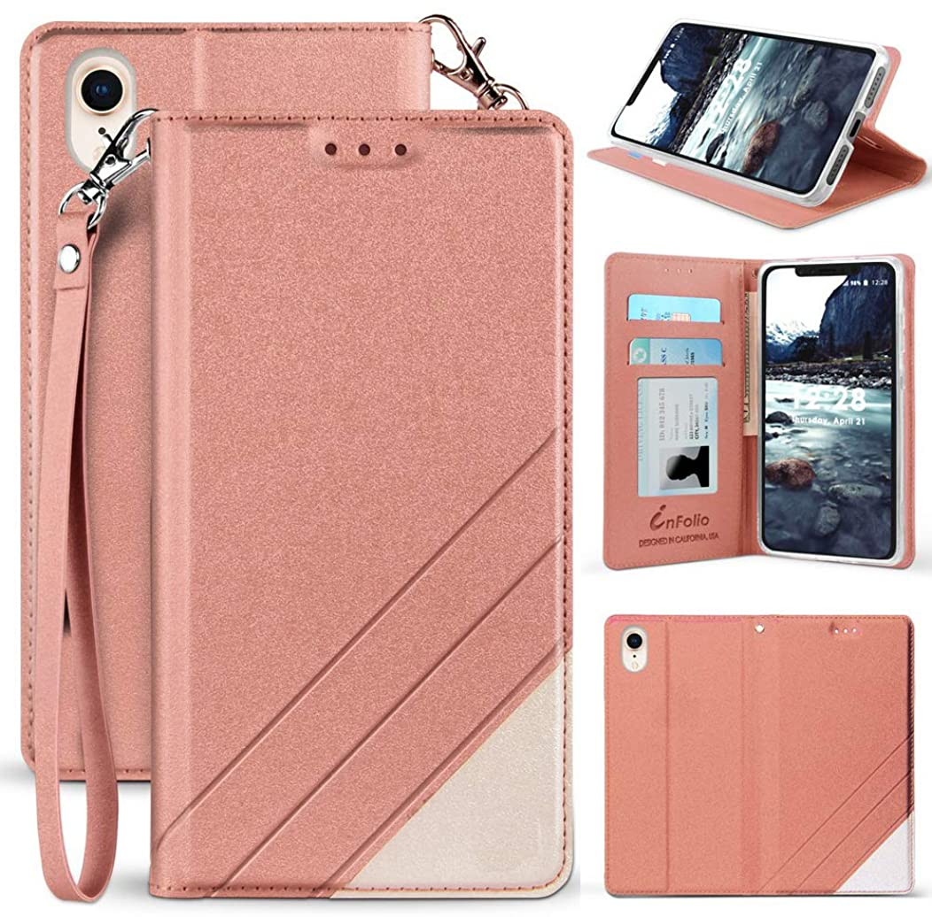 iPhone XR Case, [Rose Gold Pink] Infolio Wallet Credit Card Slot ID Cover, View Stand [with Wrist Strap Lanyard] for Apple iPhone XR (10R) (Size 6.1