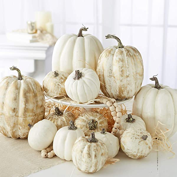 Factory Direct Craft Assorted Harvest White And Brushed Gold Pumpkins For Autumn And Fall Or Halloween Displays And Decorations