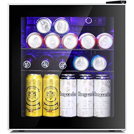 Antarctic Star Mini Fridge Cooler - 60 Can Beverage Refrigerator Glass Door for Beer Soda or Wine – Glass Door Small Drink Dispenser Machine Clear Front Removable for Home, Office or Bar, 1.6cu.ft