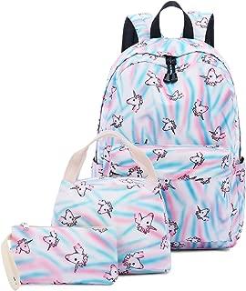 Abshoo Cute Lightweight Teens School Bookbags Unicorn Girls Backpacks with Lunch Bag (Unicorn Rainbow Blue Set)