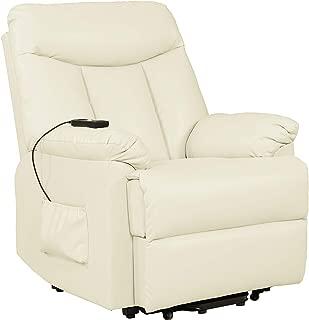 Domesis Renu Leather Wall Hugger Power Lift Chair Recliner, Cream Renu Leather