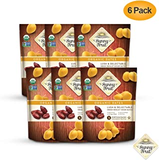 ORGANIC Pitted Dried Dates - Sunny Fruit (6 Bags) - (5) 1.76oz. Portion Packs per Bag   Purely Dates - NO Added Sugars, Sulfurs or Preservatives   NON-GMO, VEGAN, HALAL & KOSHER