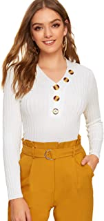 Verdusa Women's Slim Fitted Rib Knit Button Front Long Sleeve Sweater