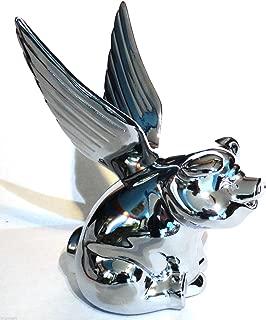 CPW (tm Chrome Flying Pig Metal Emblem for Hotrod Car Truck Semi Hood Ornament
