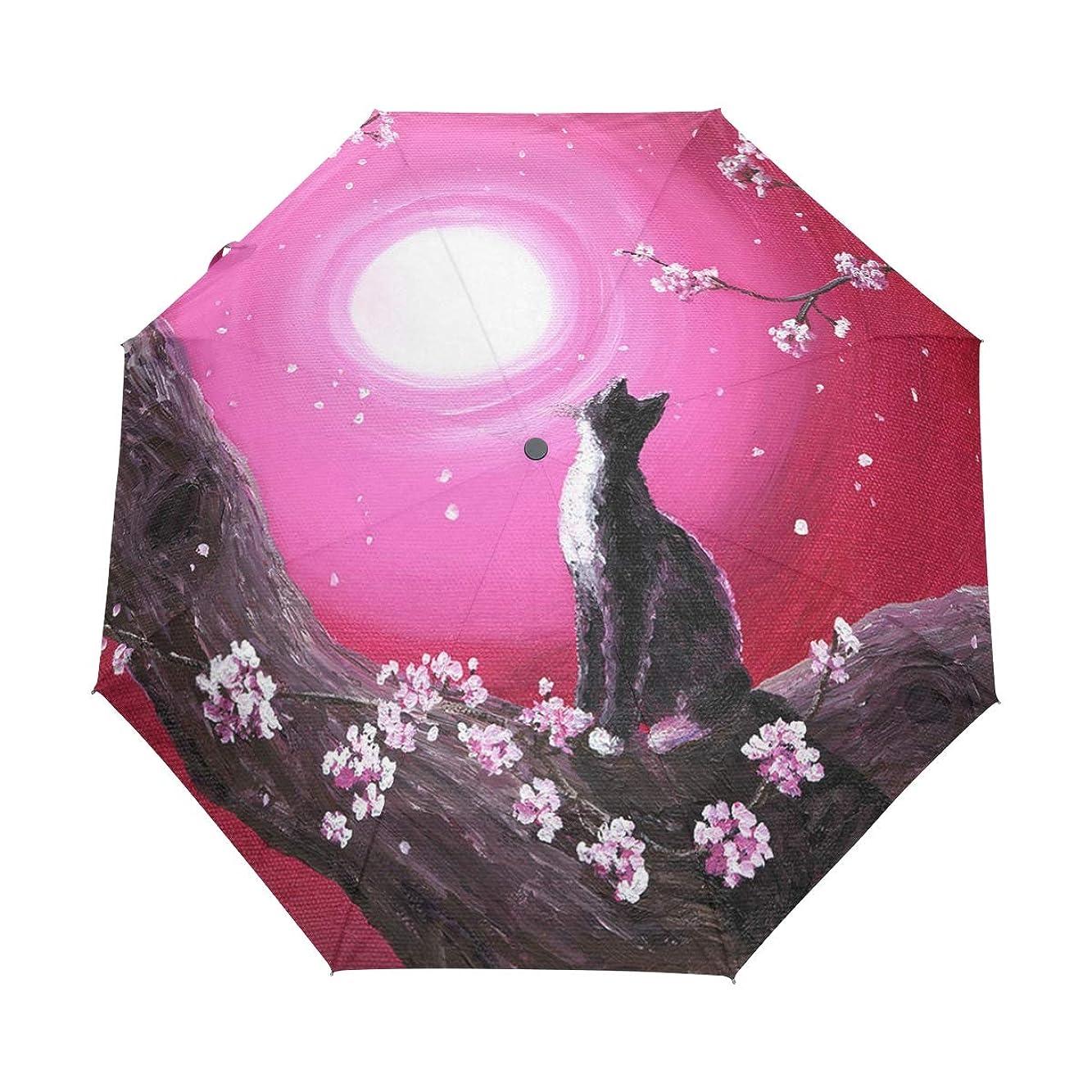 平和的チャート科学折りたたみ傘 猫 桜 折り畳み傘 手開き 三つ折り 梅雨対策 晴雨兼用 UVカット 耐強風 8本骨 収納ポーチ付き