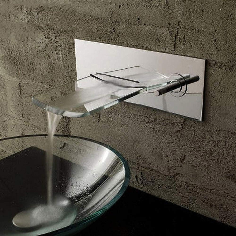 IFELGUD Gebürsteter Nickel-an der Wand befestigter Wasserfall-Badezimmer-Badewannen-Becken-Hahn