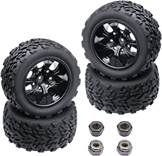 4PCS HobbyPark 12mm Hub Wheels and Tires Set 1:10 Off Road RC Car Monster Truck Tyre Foam Inserts