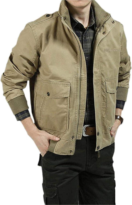 Men's Essential Work Wear Casual Stand Collar Dungaree Bomber Jacket Coat