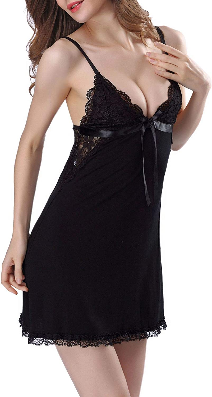 PERAMBRY Women's Sling Lace Sleepwear Sexy Nightgown V Neck Shirt Soft Modal Nightie Nightshirt Dress