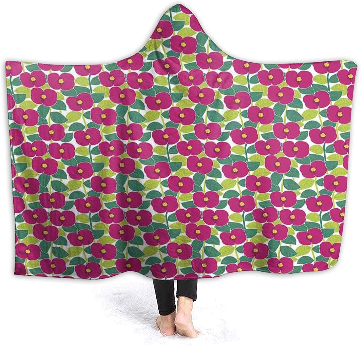 Hooded Blanket Anti-Pilling Flannel Popular overseas Nature Blossoming shopping Themed Bot