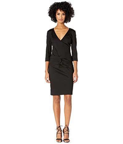 Nicole Miller Ponte Tidal Pleat Dress (Black) Women