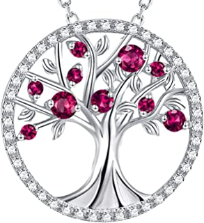 Tree of Life created Red Ruby Necklace Birthday Gifts for Mom Women Wife Love Family Girls Sterling Silver Fine Jewelry Anniversary Gifts