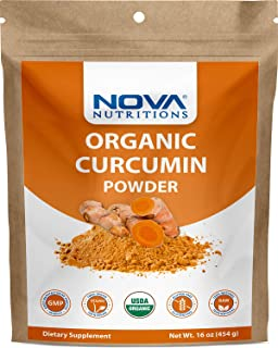 Nova Nutritions Certified Organic Turmeric Curcumin Root Powder 16 OZ (454 gm) - Curcuma Longa (Root)