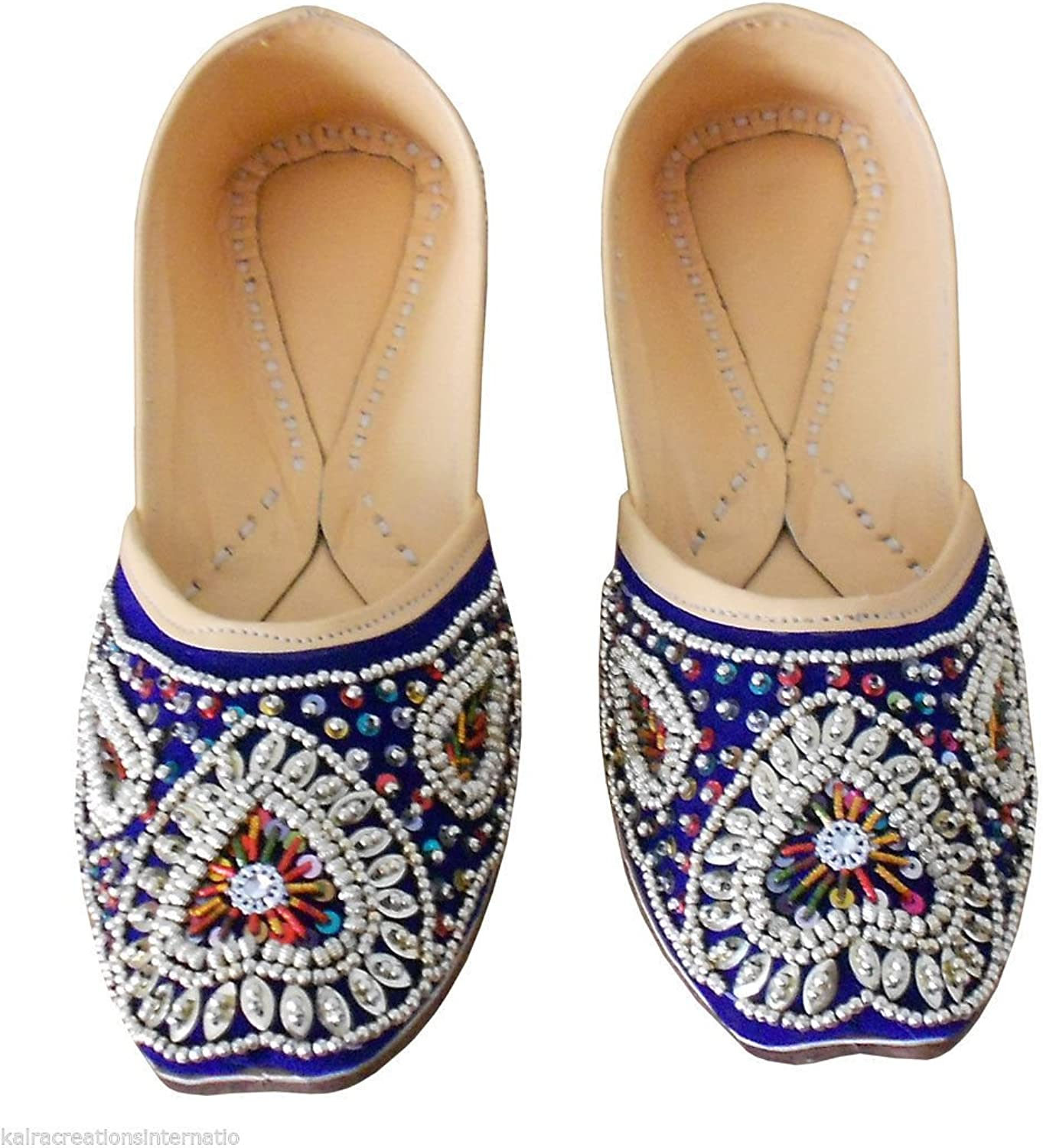 Kalra Creations Women's Traditional Indian Jutti Velvet with Sequence Work Ethnic shoes
