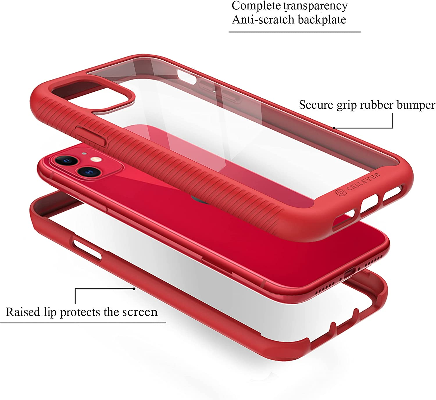 CellEver Compatible with iPhone 11 Case, Clear Full Body Heavy Duty Protective Case Anti-Slip Full Body Transparent Cover Designed for iPhone 11 (2X Glass Screen Protector Included) - Red