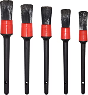 Detailing Brush Set - 5 Different Sizes Premium Natural Boar Hair Mixed Fiber Plastic Handle Automotive Detail Brushes for...
