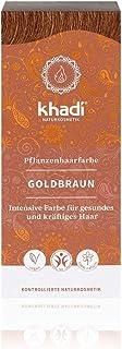 khadi Pflanzenhaarfarbe Goldbraun 100g I Haarfarbe für glänzendes und goldenes Braun I..