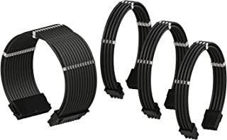 LINKUP - PSU Cable Extension Sleeved Custom Mod GPU PC Power Supply Braided w/Comb Kit |1x 24 P (20+4) | 1x 8 P (4+4) CPU...