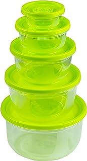 HRB Lot de 5 boîtes de conservation de 0,1 à 1,5 l, boîtes de conservation alimentaire avec couvercle, passe au congélateu...