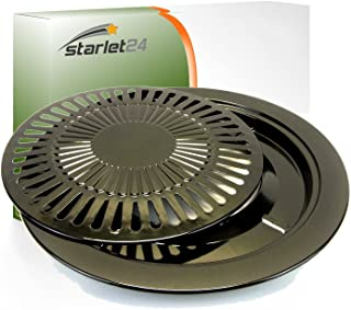 Starlet24 Barbecue-opzetstuk, 2-delig, Ø 31 cm, grillplaat, grillrooster voor BBQ, camping, gasfornuis, campingkooktoestel...