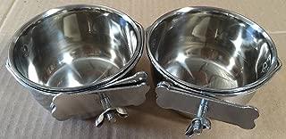 Lote de 2 tazas de alimentación de agua de semillas de acero inoxidable para jaulas de loros - 4