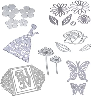 Dies Cut Cutting Die for Card Making Scrapbooking Heart Leaf Rose Flowers Beauty Lotus Root Girls Betterfly Love Stencils 3D Love Photo Frame Embossing Paper Cards for DIY Photo Album(Set 6)