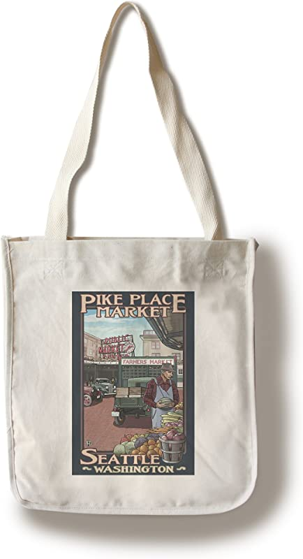 Lantern Press Seattle Washington Pike Place Market 100 Cotton Tote Bag Reusable