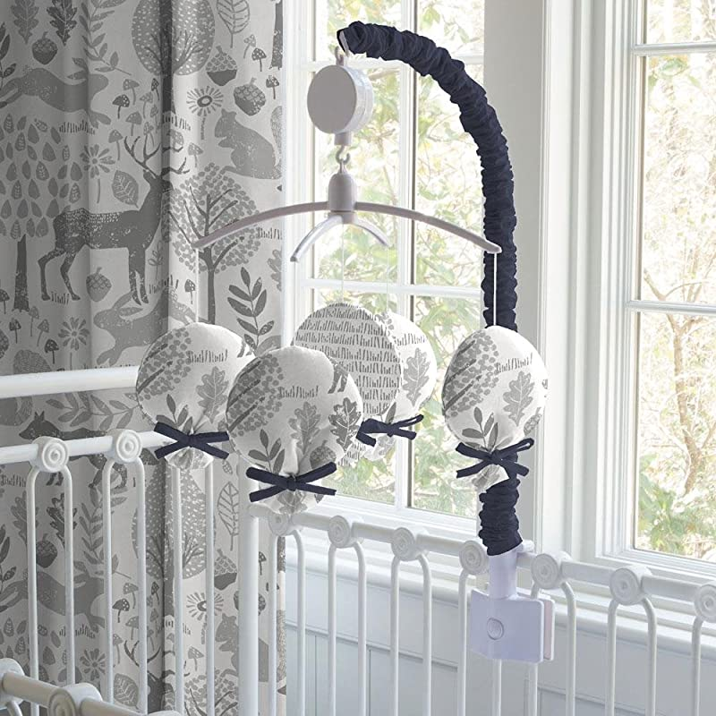 Carousel Designs Navy And Gray Woodland Mobile