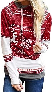 Daoroka Christmas Women Long Sleeve Hoodies Sweatshirt Tops Zipper Dots Print Xmas O Neck Pullover Blouse Shirt Fashion Comfort Blouse