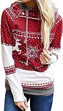 LODDD Christmas Women Zipper Dots Print Tops Fashion Hooded Sweatshirt Pullover Long Sleeve Blouse T-Shirt