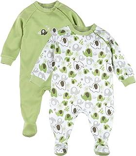 Bornino Schlafoverall 2er-Pack- Baby-Pyjama mit seitlichem Reißverschluss - Schlafanzug aus Reiner Baumwolle - einfarbig/Gemustert