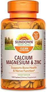 Sundown Calcium, Magnesium and Zinc for Immune Support, 100 Caplets (Packaging May Vary) Vegetarian, Vegan-Friendly, Non-G...