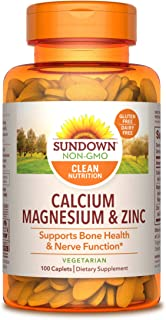 Sundown Calcium, Magnesium and Zinc High Potency, 100 Caplets (Packaging May Vary)
