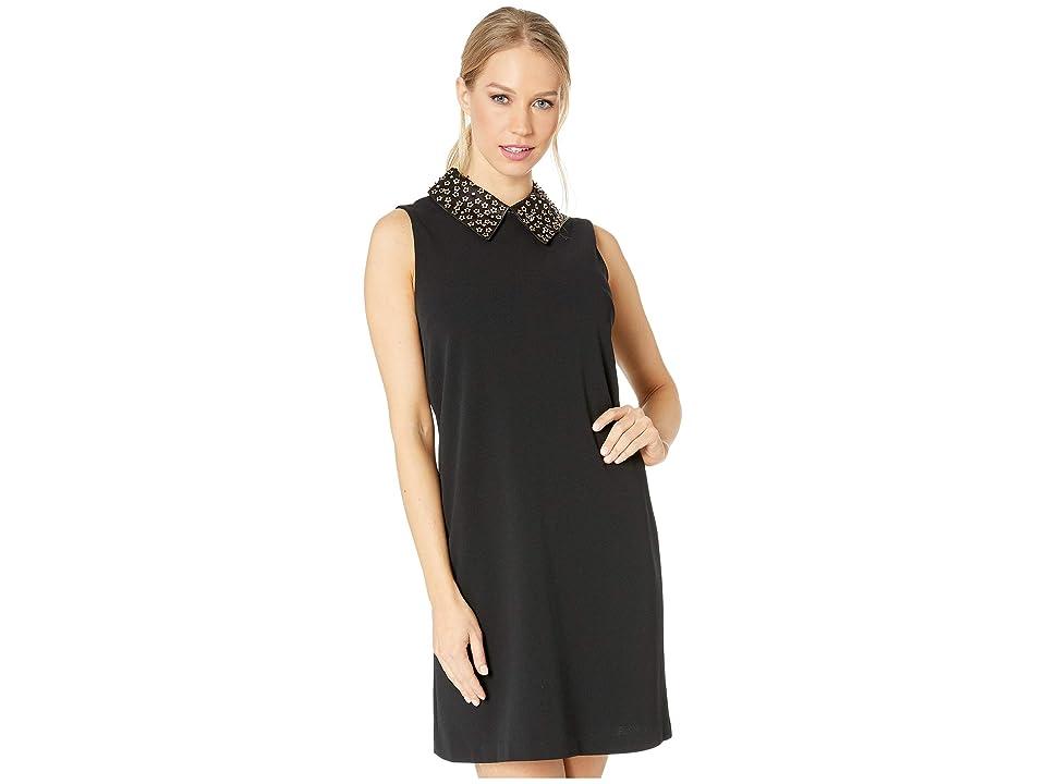 Betsey Johnson Scuba Crepe Shift Dress with Embellished Collar (Black) Women