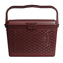 Kuber Industries Plastic Trendy Shopping Storage Basket with Handles – Small Bin (Pink)-KUBMART11092