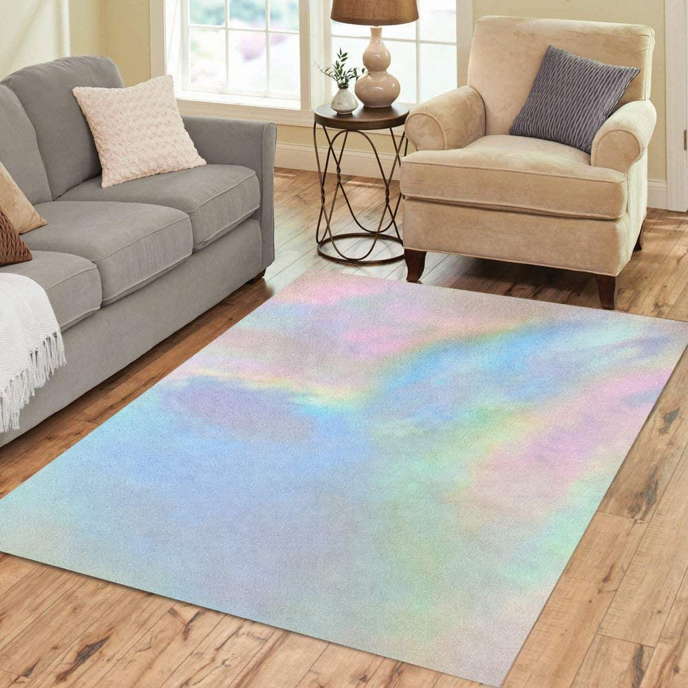Pinbeam Area Rug Watercolor Iridescent Holographic Pearl Delicate and Beautiful Colorful Home Decor Floor Rug 3' x 5' Carpet
